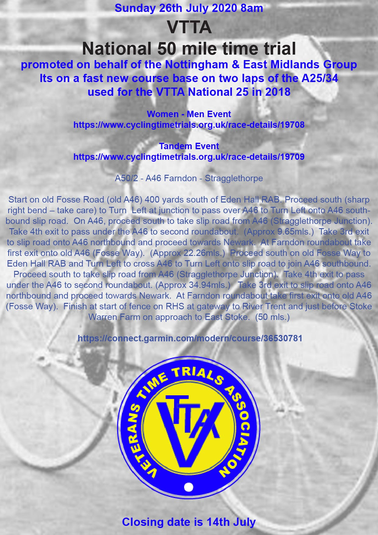 VTTA National 50 mile time trial - Newark